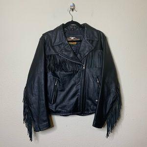 Harley Davidson Black Leather Fringe Moto Jacket